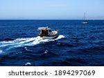 Motorboat. small boat breaking...