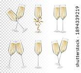 set of glasses of champagne ...   Shutterstock .eps vector #1894339219