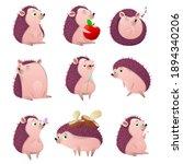 cartoon hedgehog character set. ...   Shutterstock . vector #1894340206
