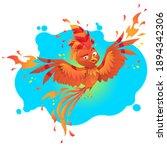 fenix fire bird cartoon...   Shutterstock . vector #1894342306