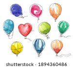 Set Of Colorful Watercolor Hot...