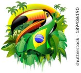 toco toucan with brazil flag | Shutterstock .eps vector #189436190