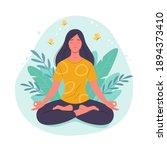 meditating woman. vector... | Shutterstock .eps vector #1894373410