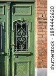 Old Green Wooden Door Of A...