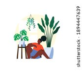 a woman sit with plants behind | Shutterstock .eps vector #1894447639