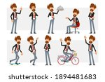 cartoon flat funny bearded... | Shutterstock .eps vector #1894481683