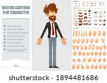 cartoon flat funny bearded... | Shutterstock .eps vector #1894481686