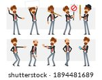 cartoon flat funny bearded... | Shutterstock .eps vector #1894481689