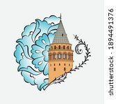 the galata tower  is a medieval ... | Shutterstock .eps vector #1894491376