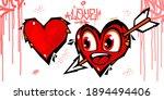 Graffiti Style Hearts Vector...