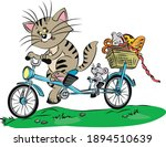 Cat And Mouse Ride A Bicycle ...