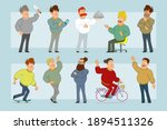cartoon flat funny fat smiling... | Shutterstock .eps vector #1894511326