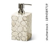 Small photo of South American Ivory Palm High-Gloss Resin Soap Dispenser Pump Bottle Isolated. Skin Care Lotion. Bathing Essential Product. Shampoo Bottle Bath Body Lotion Fine Liquid Hand Wash. Bathroom Accessories