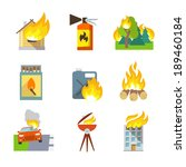 Fire Protection Icons Set Of...