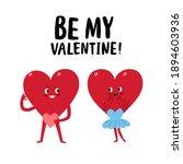 cute funny cartoon hearts pair. ... | Shutterstock .eps vector #1894603936