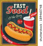 vintage hot dog with drink... | Shutterstock .eps vector #189460748