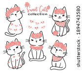 cute valentine cat collection ...   Shutterstock .eps vector #1894743580