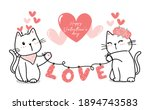 cute valentine cat couple with...   Shutterstock .eps vector #1894743583