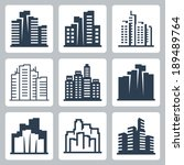 cityscape vector icons set | Shutterstock .eps vector #189489764