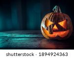 A Scary Pumpkin Lantern With...