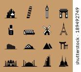 Tourist Landmark Location Icons ...
