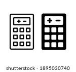 calculator math icon in black...