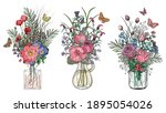 set of bouquets of flowers in... | Shutterstock .eps vector #1895054026
