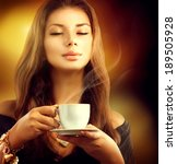 coffee. beautiful woman... | Shutterstock . vector #189505928