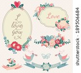 vintage floral set. hand drawn... | Shutterstock .eps vector #189506684