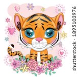 cute cartoon tiger with... | Shutterstock .eps vector #1895103976