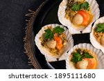 Close Up Baked Scallops With...