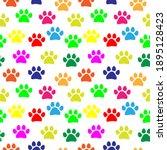 Colorful Paw Prints Pattern...