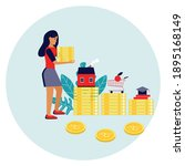 women planning finances and... | Shutterstock .eps vector #1895168149