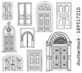 Door set. Collection of hand drawn sketch vintage doors. - stock vector