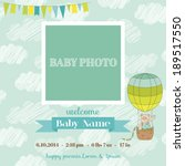 baby arrival card with photo...   Shutterstock .eps vector #189517550