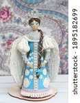 Small photo of Plasticine modelling clay. Figure of russian woman. Developing activities, creative idea, hobby. Plasticine sculpture. Sculpts from plasticine modelling clay. Tsarevna Swan, plasticine Princess Swan