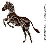 plains zebra reared before...   Shutterstock .eps vector #1895190943