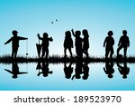 group of children silhouettes... | Shutterstock .eps vector #189523970