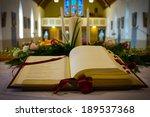 open bible and wedding flowers... | Shutterstock . vector #189537368