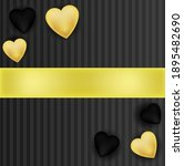 Golden Black Hearts With Ribbon ...