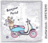 vintage vector paris postcard... | Shutterstock .eps vector #189578390