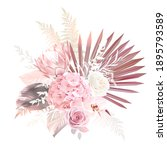 trendy dried palm leaves  blush ... | Shutterstock .eps vector #1895793589