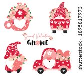 sweet valentine gnome in pink... | Shutterstock .eps vector #1895817973