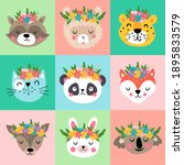 cute animals heads with flowers ... | Shutterstock .eps vector #1895833579