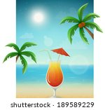 beach background with cocktail... | Shutterstock .eps vector #189589229