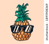 illustration of pineapple with... | Shutterstock . vector #1895908369