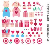 set of elements for valentine's ... | Shutterstock .eps vector #1895931619