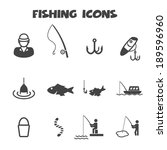 fishing icons  mono vector...