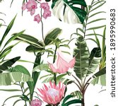 exotic flowers pattern. many... | Shutterstock .eps vector #1895990683