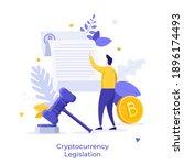 bitcoin  man reading document... | Shutterstock .eps vector #1896174493
